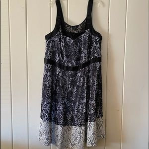 City Chic White and Black Lace Dress Size 20